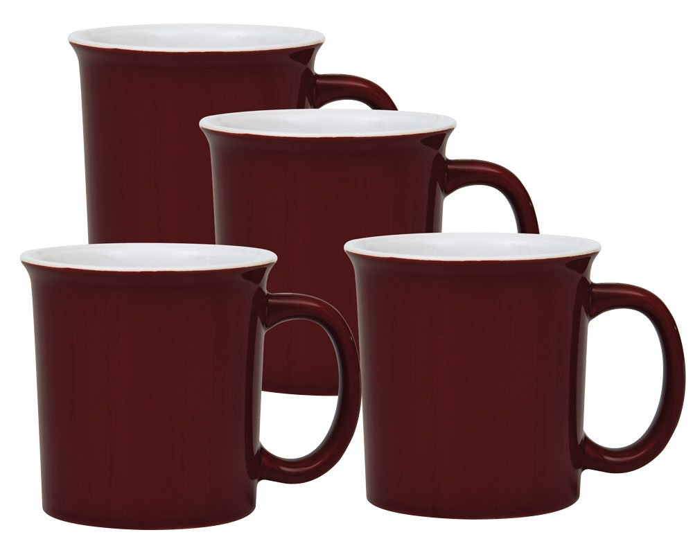 Culver University Ceramic Mug, 14-Ounce, Maroon White, Set of 4 017-75541MW