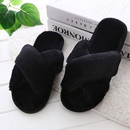 BZLine® Damen Warme Hausschuhe Indoor Startseite Slipper Flip Flop Hausschuhe Schwarz