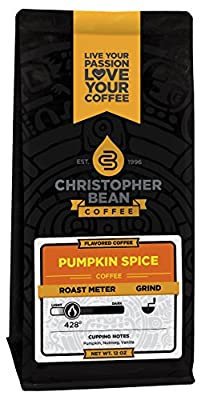 Christopher Bean Coffee Flavored Decaffeinated Ground Coffee, Pumpkin Spice, 12 Ounce