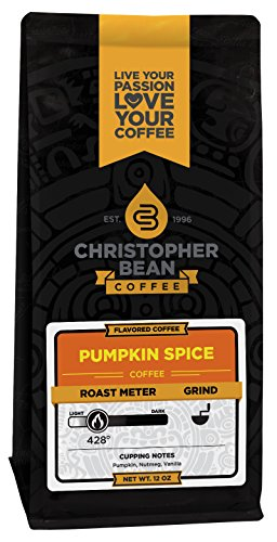 Green Beans Spices - Christopher Bean Coffee Flavored Decaffeinated Ground Coffee, Pumpkin Spice, 12 Ounce