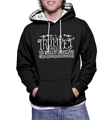Miles Davis Trumpet Player - Men's It's A Trumpet Thing, You Wouldn't Understand Two Tone Hoodie Sweatshirt (Black/White Strings, Large)