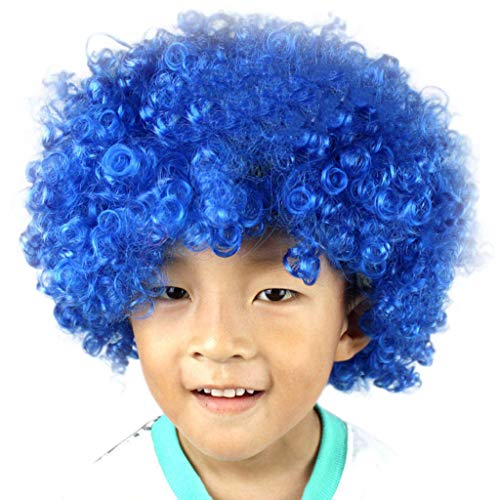Bokeley-Beauty Kid Best Gift Costume Wig Cosplay Party Disco Funny Clown Hair Football Fan-Kids Afro Masquerade Hair Wig (A)