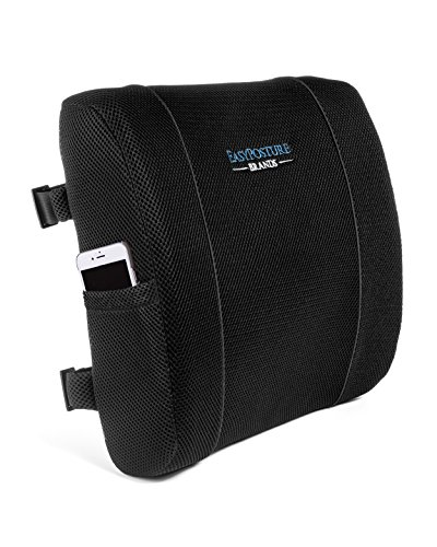 Easy Posture Brands Lumbar Support Cushion Back Pillow for Office Chair or Car Lower Back Pain Relief - 100% Memory Foam Black or Gray (Bonus Cover) by Easy Posture Brands