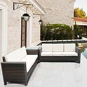 Luxurygarden afef ratán Jardín Set sofá sofá cesta Muebles de Jardín Asiento Grupo