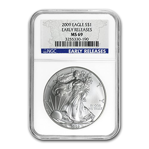 2009 Silver American Eagle MS-69 NGC (Blue Label, Early Release) 1 OZ MS-69 NGC