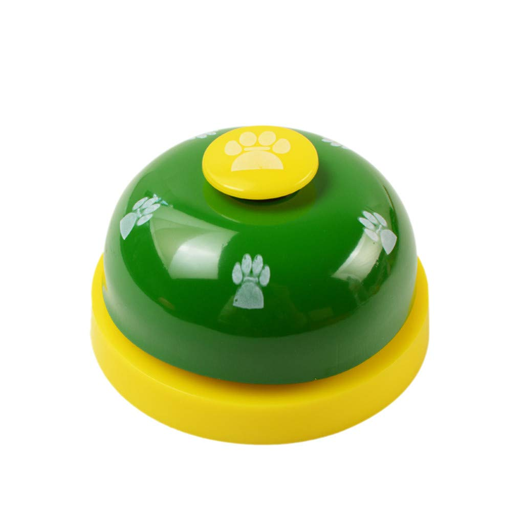 DZT1968  Dog Training Bell, Dog Cat Door Bell Tell Bell with Non-Skid Rubber Base Pet Training Bells Dog Bells for Potty Training + 1Pcs Dog Training Clicker with Wrist Strap (Green)