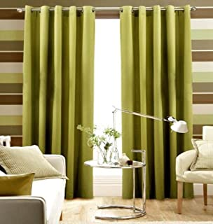 Pair Of Plain LIME GREEN Eyelet Ring BLACKOUT DIMOUT CURTAINS 108 WIDE X 90