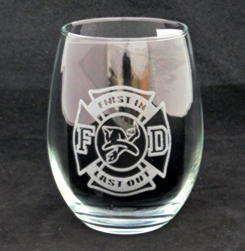 Firefighter First In Last Out Stemless Wine Glass. The perfect gift for any firefighter!