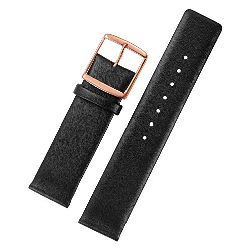 16mm Black Leather Watch Bands Replacement Italian Cowhide Thin without Stitching Simple Design Rose Gold - Is Gold Real Versace