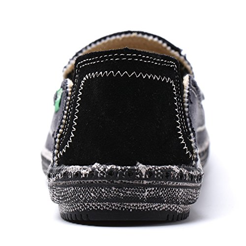 Sanbang Mens Instappers Loafers Plat Canvas Bootschoenen Voor Rijden Wandelen Wieden Outdoor Zwart