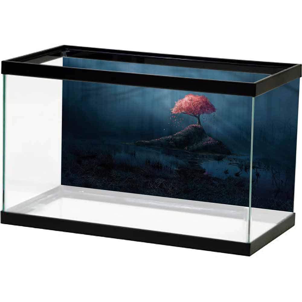 HD Aquarium Background Dark Blue,Lonely Pink Sakura Tree 3D One Side Fish Tank by SLLART