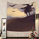 Gzhihine Custom tapestry Horror Decor Tapestry Dark Soul From a Scary Movie Film on the Hills with Clouds and Flying Crows Print for Bedroom Living Room Dorm 60 W X 40 L Black