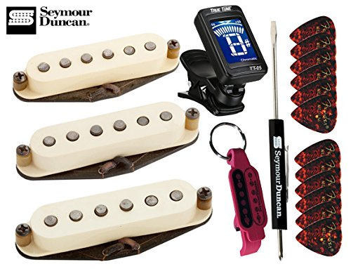 Cover Bridge Strat (Seymour Duncan Antiquity Texas Hot Strat Pickup Set Middle, Neck, Bridge with True Tune Tuner, Fender Picks, Tool and Keychain 11028-01)
