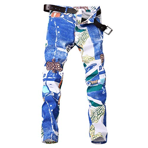 Rectos Pantalones elásticos Viejos Masculinos Personalidad Delgada básicos WFL Cintura Blanco Marea para de Impresos Pantalones Hombres Vaqueros de Pantalones Casual Pantalones HnCqw8