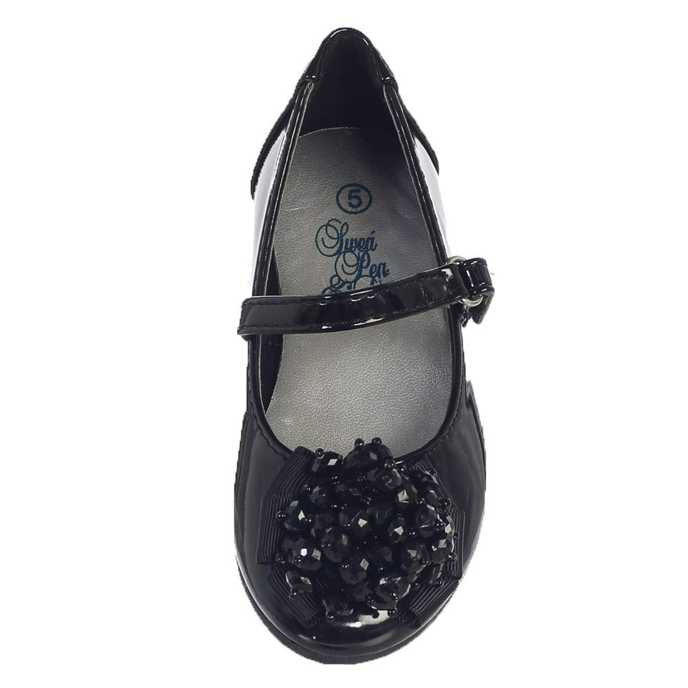 Lito Girls Black Crystal Bead Bow Anna Occasion Dress Shoes Toddler 5-10