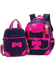 Efree 2 pcs Girls Polka Dot Cute Bow Princess Pink School Backpack Girls Book Bag (Rose)