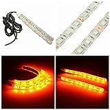 AUDEW 2 x Universal Motorcycle LED Turn Signal Indicator Strip Light Blinker Lamp Amber