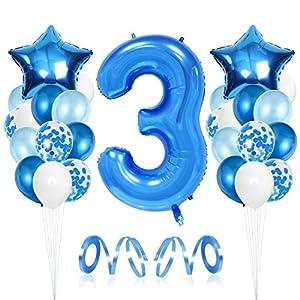 3er Anniversaire Décorations, 3ère Happy Birthday Balloons, Fête 3ème Ballons Décoratifs, Chiffre 3 Ballons…