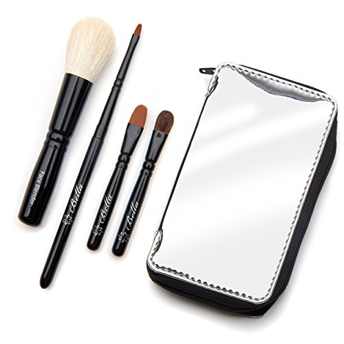 Bella Mini Travel Makeup Brush Set with Mirror Travel Case | Handmade in USA | Includes Face Blender, Cream Shadow, Eye Shadow, and Fine Eye Liner Cosmetic Brushes | Compact Make Up Kit for Women ()