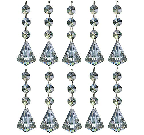 Teardrop Shaped Crystal - Moooni 10Pcs Clear Crystal Chandelier Prisms Ornaments Teardrop Pendants Beads Diamond-shaped Crystal Replacement for Chandeliers