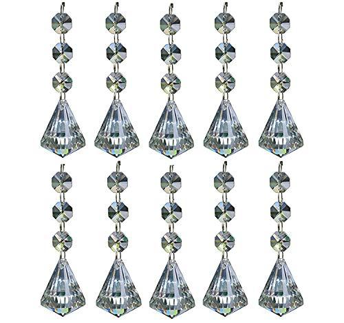 Moooni 10Pcs Clear Crystal Chandelier Prisms Ornaments Teardrop Pendants Beads Diamond-shaped Crystal Replacement for - Pendant Teardrop Shaped