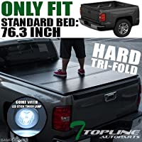 Topline Autopart Tri-Fold Hard Tonneau Cover Trunk Lid Jr...