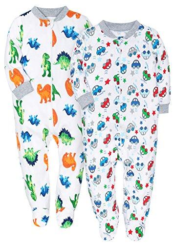 781168b84 Galleon - 2 Pack Footed Pajama Baby Boys Girls Sleeper Long Sleeve ...
