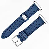 Fendi Selleria Interchangeable Replacement Watch Band - 18mm Blue Calfskin Leather Strap with Pin Buckle SS18RH3S