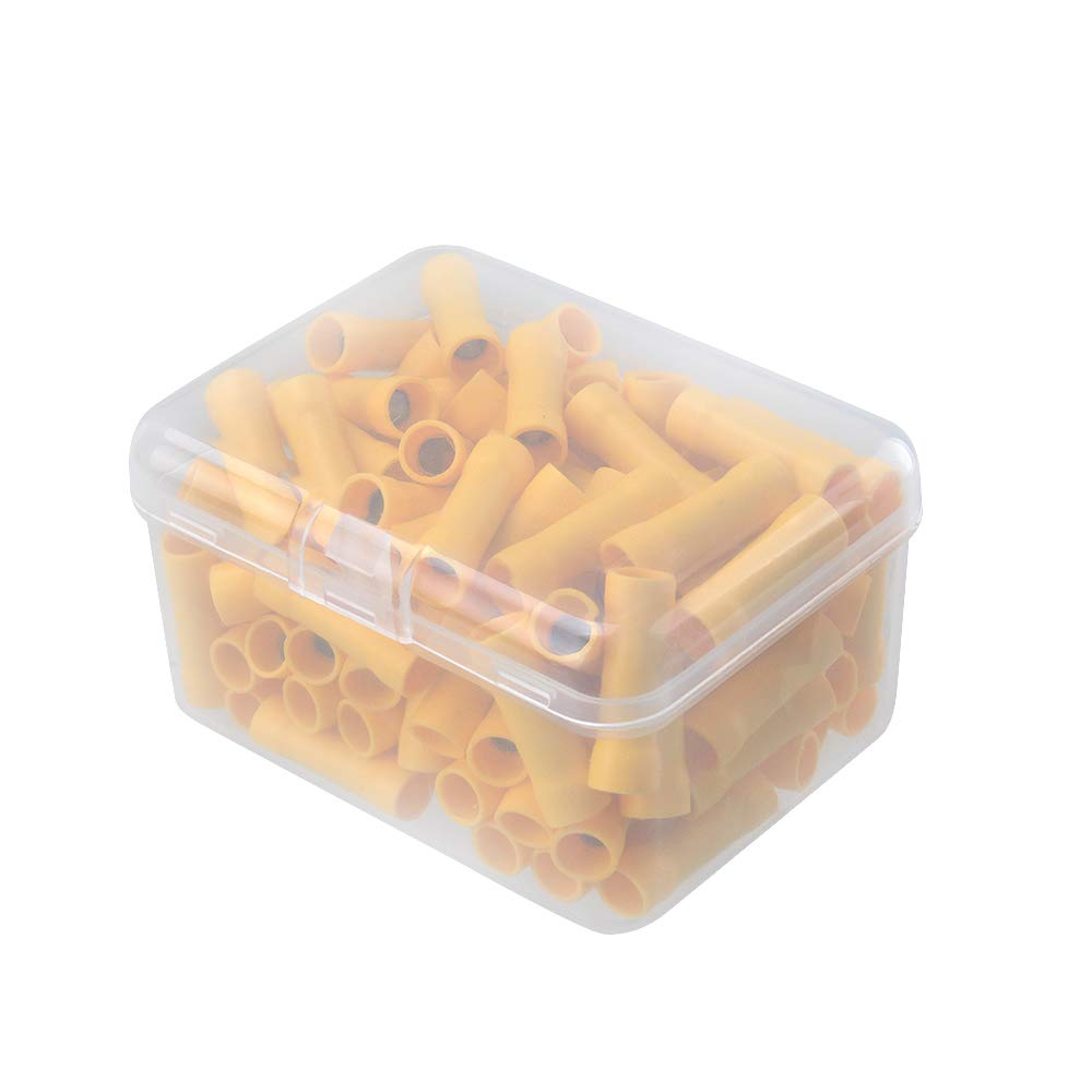 HUICAO 12-10 Gauge Butt Splice Connectors, 100 Pcs Vinyl Insulated Butt Splice Wire Crimp Connectors Terminals – Yellow