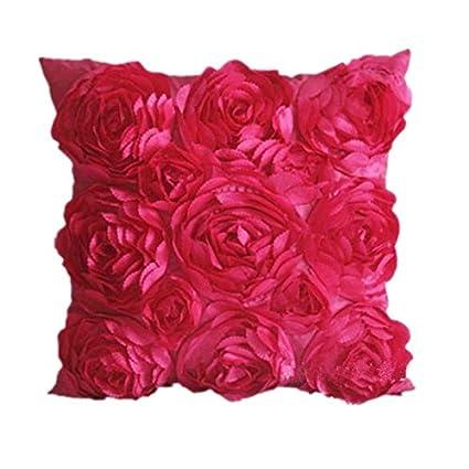 Amazon cushion covers soledi rose red 3d rose flower square cushion covers soledi rose red 3d rose flower square pillow cushion pillowcase case cover 40x40cm mightylinksfo