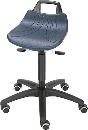Giratorio taburete asiento de espuma de poliuretano azul con ruedas