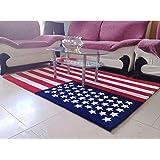 Luk Oil American Flag Rug Stars Stripe Acrylic Mats Non-slip Thickening Living Room Carpet (120cmX170cm)