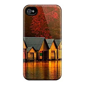 Defender Case For Iphone 4/4s, Boat Houses At Dawn Pattern