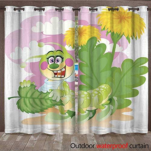 (Outdoor Balcony Privacy Curtain Having Dinner Caterpillar W84 x L108)