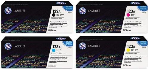 Genuine HP Q3960A Black, Q3971A Cyan, Q3973A Magenta, Q3972A Yellow Color Toner Cartridge 4-Pack