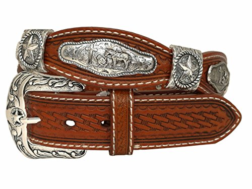 West Star Basket Weave Woven Embossed Genuine Leather Cowgirl Cowboy Small Buckle Western 1.5 Inches Belt