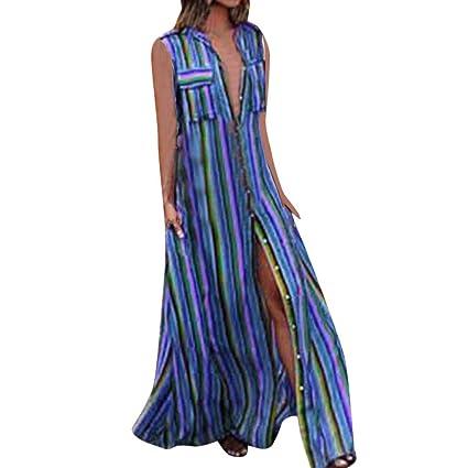 KItipeng Damen Bohemia Strandkleid Regenbogen Streifen V-Ausschnitt Sommerkleider Ärmellos Loose Nationaler Stil Maxikleid