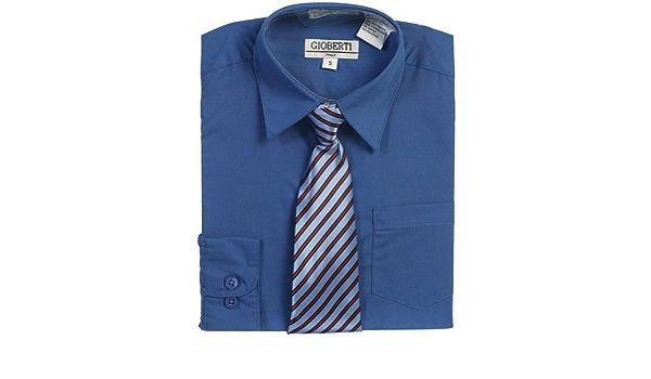 Royal Azul Botón De Up Camisa Azul Corbata a rayas Set de ...