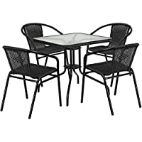 Skovde 5-pcs Table Set Square 28 Glass w/4 Black Rattan Stack Chairs