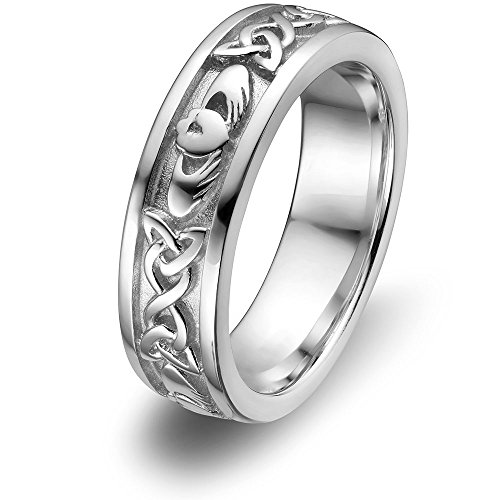 Sterling Silver Ladies Claddagh Ring - Sterling Silver Women Claddagh Wedding Ring ULS-6344 Size: 7