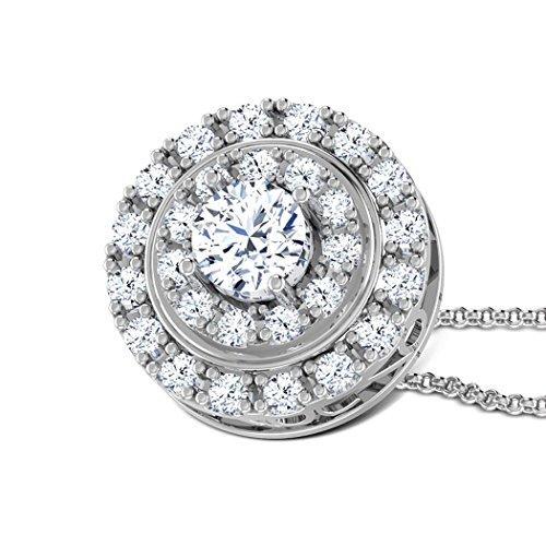 14K Or blanc 1.1CT TW Round-cut-diamond (IJ | SI) Pendentif