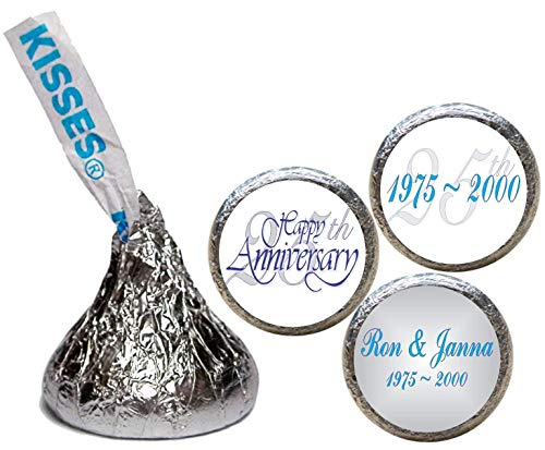 Silver Anniversary Stickers for the Bottom of Chocolate Kisses (Set of ()