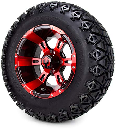 12″ MODZ Ambush Red & Black Golf Cart Wheels and All Terrain Tires Combo Set of 4