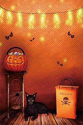 AOFOTO 6x9ft Lights Room Interior Trick or Treat Background for Kids Photography Black Cat Wood Floor Candies in Pumpkin Basket Halloween Party Backdrop All Saints' Day Photo Studio Props