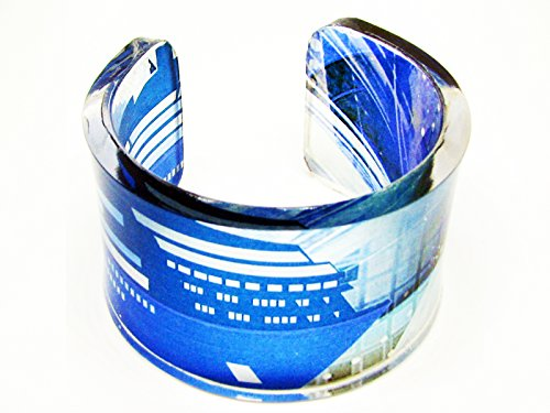 - One big Handmade chunky lucite resin bracelet cuff with hand printed graphic named who got away from Titanic with lifeboat no.16