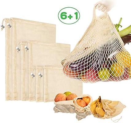 Reutilizables Ecológicas Bolsas de Comida para Fruta,Verduras Juguetes y Libros-Bolsas de Comestibles Hechas de Algodón Orgánico para una Compra sin Residuos-Ligeras,con Cordón 7 Set: Amazon.es: Hogar