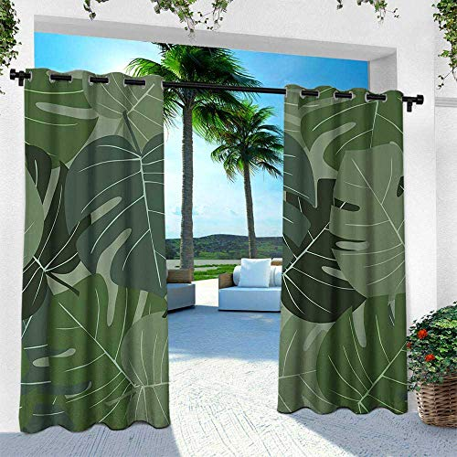 - Hengshu Forest Green, Thermal Insulated Water Repellent Drape for Balcony,Camouflage Pattern of Palm Leaves Tropical Nature Themed Foliage, W120 x L108 Inch, Sage Green Pale Green