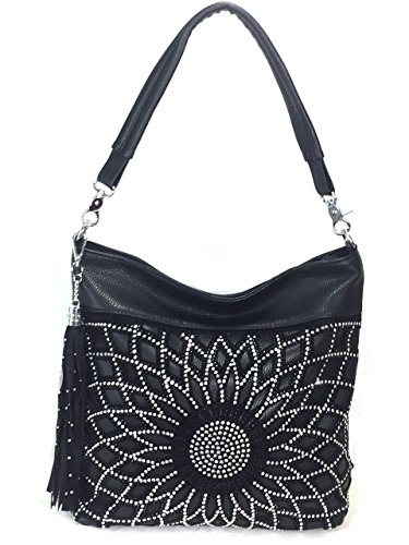 (Zzfab Starburst Rhinestone Conceled and Carry Purse Bling Hobo Bag Black)