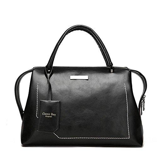 del tamaño moda señora 33cmx16 de del PU Black del 5cmx21cm hombro bolso color bolso Penao cuero mensajero portátil de la puro TFXwqAqxa
