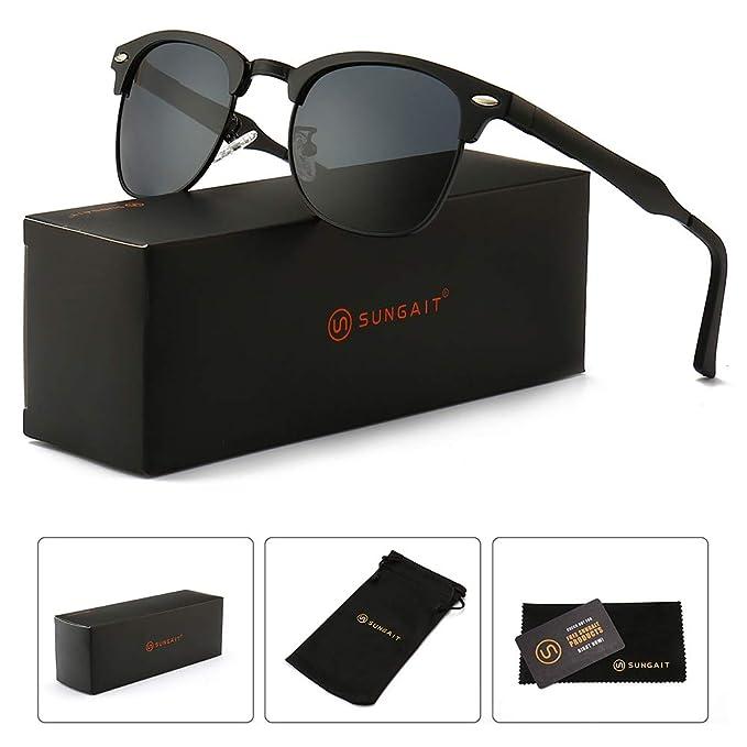 5e27fb4e14ea SUNGAIT Classic Half Frame Clubmaster Sunglasses with Polarized Lens (Black  Frame Gray Lens)  Amazon.in  Clothing   Accessories